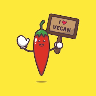 Cute chilli with greeting love vegetable cartoon illustration