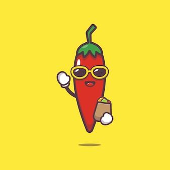 Cute chilli with shopping bag cartoon illustration