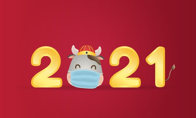 Cute chinese cow head mascot wearing a face mask. happy new year. corona virus pandemic.