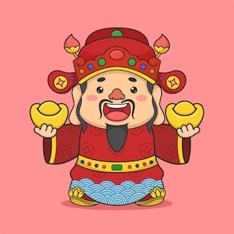 Cute chinese fortune god holding two money
