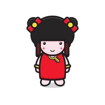 귀여운 중국 소녀 캐릭터 미소입니다. 흰색 배경에 고립 된 디자인