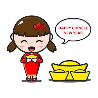 中国の旧正月で金を保持しているかわいい中国の女の子