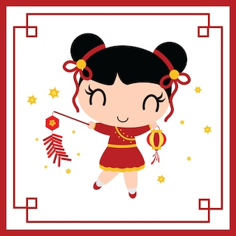Cute chinese girl plays firecrackers vector cartoon illustration for chinese new year card
