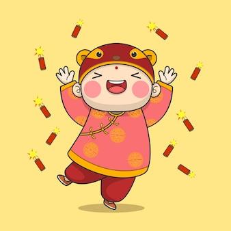 Милый китайский новый год мальчик с петардой