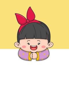 大きな弓を持つかわいい中国の旧正月の女の子