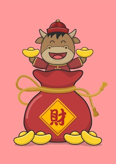 Cute chinese new year ox on money pouch