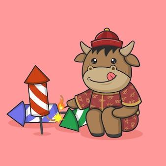 Cute chinese new year ox playing firecracker rocket