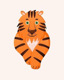 Милый китайский тигр. гороскоп зодиака астрология. современные иллюстрации животных для полиграфического дизайна. векторные иллюстрации шаржа, изолированные на фоне.