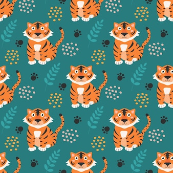 Cute chinese tigers on green background vector seamless pattern design for children