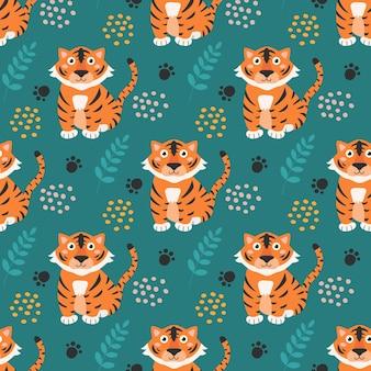 어린이 위한 녹색 배경 벡터 원활한 패턴 디자인에 귀여운 중국 호랑이