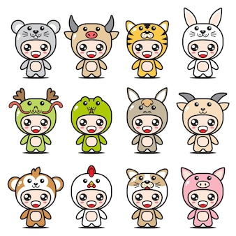 Cute chinese zodiac mascot sets