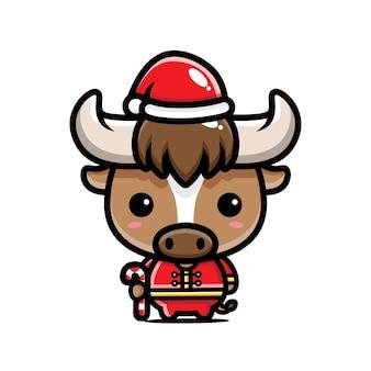 산타 모자를 쓰고 귀여운 중국어 조디악 황소