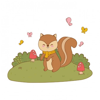 Cute chipmunk in the field woodland character