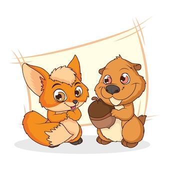 Cute chipmunk and fox comic cartoon characters