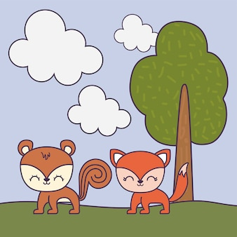 Cute chipmunk with fox in landscape scene