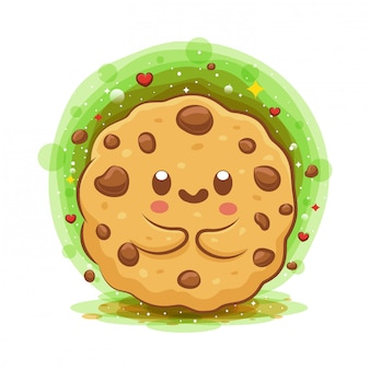 Cute choco chip cookies kawaii cartoon character