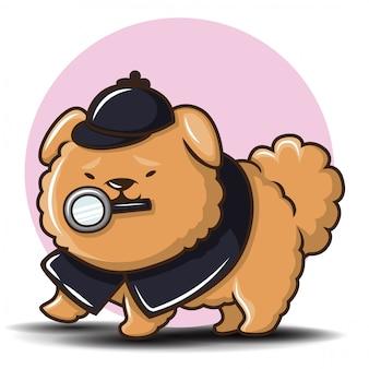 Cute chowchow dog cartoon