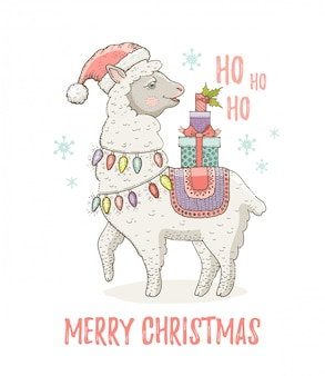 サンタの帽子でかわいいクリスマスアルパカラマ。グリーティングカードやtシャツのプリントデザイン。