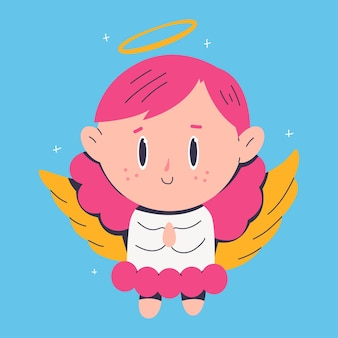 Cute christmas angel cartoon character isolated on background.
