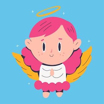 Милый рождественский ангел мультипликационный персонаж, изолированные на фоне.
