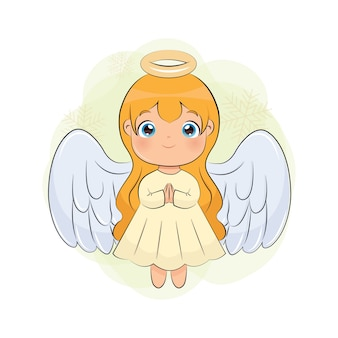 かわいいクリスマスの天使の女の子。聖人漫画は白い背景で隔離。