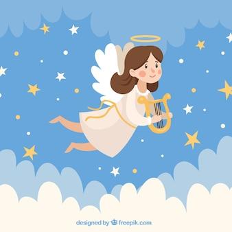Cute christmas angel in the sky
