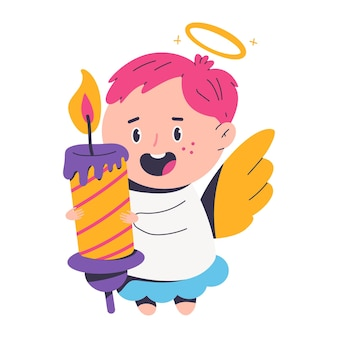 Cute christmas angel with candle cartoon character isolated on a white background.