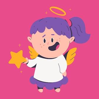 Милый рождественский ангел со звездой мультипликационного персонажа, изолированные на фоне.