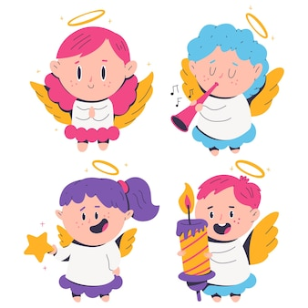 Cute christmas angels vector cartoon characters set isolated on a white background.
