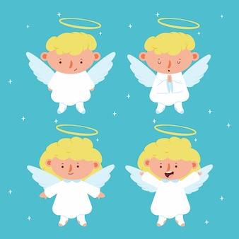 Симпатичные рождественские ангелы с крыльями и персонажами ореола на фоне.