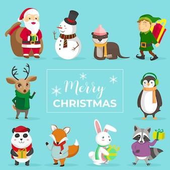 Симпатичные рождественские животные набор символов