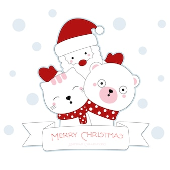 Cute christmas animal hand drawn style