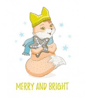 Cute christmas animal, sketch forest fox. merry xmas and new year cartoon watercolor vector illustration.