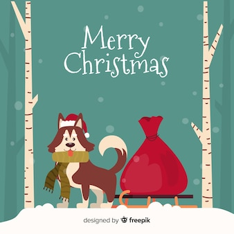 Cute christmas animales background