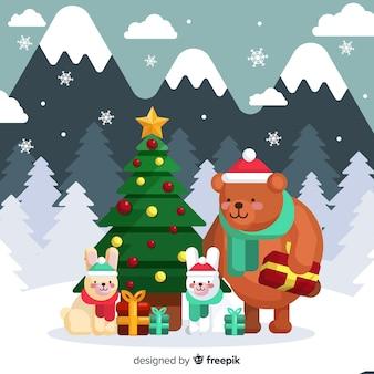 Симпатичные рождественские животные фон