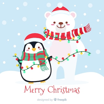 Cute christmas animals background