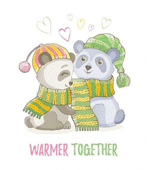 Cute christmas animals, sketch panda bear couple in knitted scarfs. merry xmas and new year cartoon watercolor vector illustration.