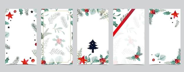ツリー、ホリー、リボンとソーシャルメディアのかわいいクリスマスの背景