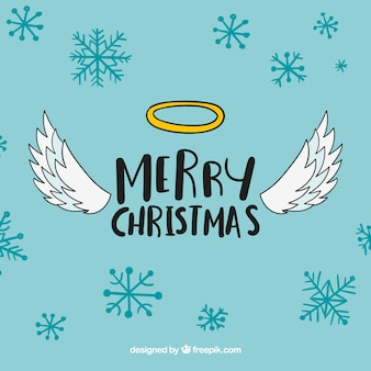 Cute christmas background with angel's wings