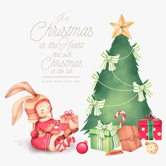 Cute christmas background with lovely character