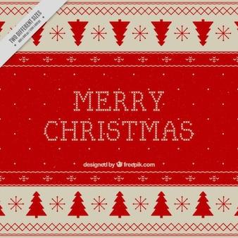 붉은 나무와 귀여운 크리스마스 배경