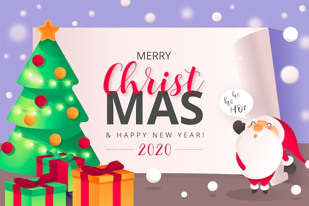 Cute christmas background with santa character