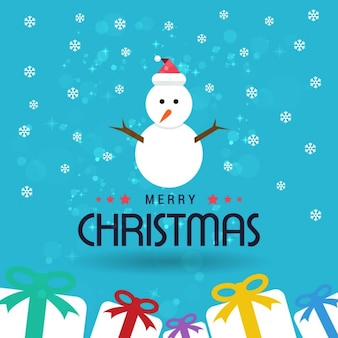 Cute christmas background with a snowman and some gifts