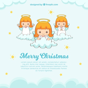 Cute christmas background with three angels