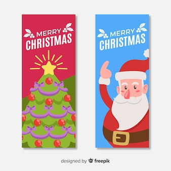 Cute christmas banner set with tree and santa claus in flat design