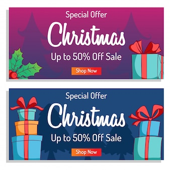 Cute christmas banner for shopping sale or promo with colorful