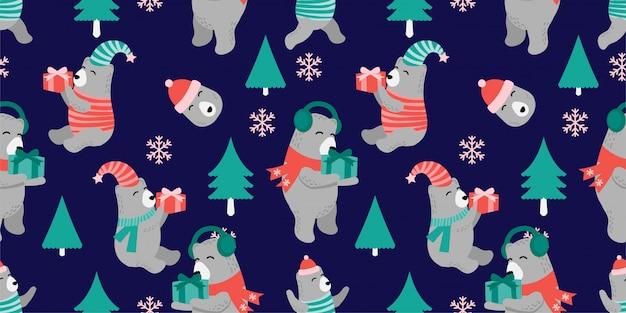 Cute christmas bear seamless pattern