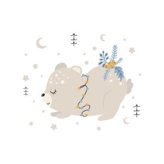 귀여운 크리스마스 곰입니다. 스칸디나비아 스타일의 벡터 인쇄. 포스터, 카드, 티셔츠를 위한 손으로 그린 벡터 삽화.