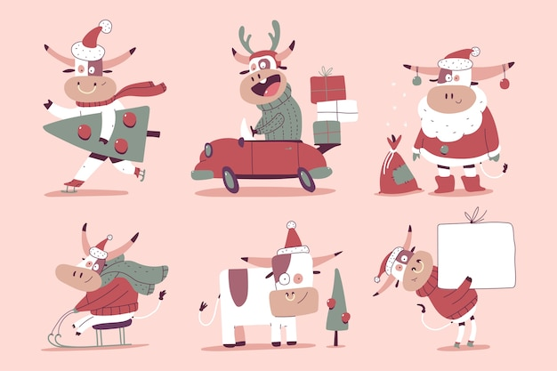 핑크에 고립 된 산타 모자에 귀여운 크리스마스 불