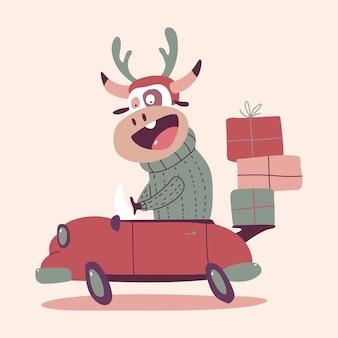 Cute christmas bull in red car cartoon character